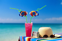 Tropical drinks by the sea with a sunhat,camera and sunglasses