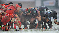 Marcos Ayerza of Leicester Tigers scrums down during the Heineken Cup 6th round match between Leicester Tigers and Stade Toulousain at Welford Road on Sunday 20th January 2013 (Photo by Rob Munro).