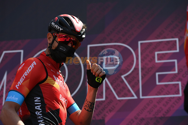 Damiano Caruso (ITA) Bahrain Victorious at sign on before the start of Stage 17 of the 2021 Giro d'Italia, running 193km from Canazei to Sega Di Ala, Italy. 26th May 2021.  <br /> Picture: LaPresse/Marco Alpozzi | Cyclefile<br /> <br /> All photos usage must carry mandatory copyright credit (© Cyclefile | LaPresse/Marco Alpozzi)