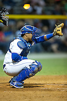 Burlington Royals catcher Xavier Fernandez (34) on defense against the Johnson City Cardinals at Burlington Athletic Park on August 22, 2015 in Burlington, North Carolina.  The Cardinals defeated the Royals 9-3. (Brian Westerholt/Four Seam Images)