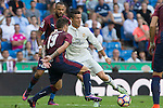 Real Madrid's Cristiano Ronaldo and Eibar's Antonio Luna during the match of La Liga between Real Madrid and SD Eibar at Santiago Bernabeu Stadium in Madrid. October 02, 2016. (ALTERPHOTOS/Rodrigo Jimenez)
