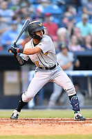 West Virginia Power second baseman Cesar Izturis Jr. (13) swings at a pitch during a game against the Asheville Tourists at McCormick Field on April 18, 2019 in Asheville, North Carolina. The Power defeated the Tourists 12-7. (Tony Farlow/Four Seam Images)