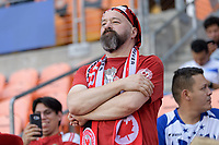 Houston, TX - Tuesday July 11, 2017: A Canadian fan watching the National Teams of Canada and Costa Rica play in Group A action during a 2017 CONCACAF Gold Cup match played at BBVA Compass Stadium.