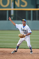 Luke Persico (21) of the UCLA Bruins in the field at first base during a game against the Arizona Wildcats at Jackie Robinson Stadium on May 16, 2015 in Los Angeles, California. UCLA defeated Arizona, 6-0. (Larry Goren/Four Seam Images)