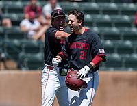 STANFORD, CA - JUNE 4: Grant Burton, Tim Tawa during a game between North Dakota State and Stanford Baseball at Sunken Diamond on June 4, 2021 in Stanford, California.