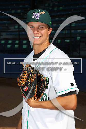 Jamestown Jammers pitcher Michael Ojala (30) poses for a photo before a game vs. the Staten Island Yankees at Russell Diethrick Park in Jamestown Jammers, New York July 15, 2010.   Jamestown defeated Staten Island 5-1.  Photo By Mike Janes/Four Seam Images