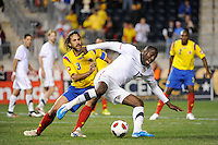 Jozy Altidore (17) of the United States (USA) is defended by Mario Yepes (3) of Colombia (COL). The men's national teams of the United States (USA) and Colombia (COL) played to a 0-0 tie during an international friendly at PPL Park in Chester, PA, on October 12, 2010.