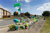 Pictured: Flowers and tributes left by family, friends and locals in Balfe Road, in the Alway area of Newport, Wales, UK. Monday 14 June 2021<br /> Re: Three men and a boy have who have been charged with murdering a man and robbing him of a Gucci bag, have appeared before Magistrates Court in newport, Wales, UK.<br /> Ryan O'Connor, 26, who was known as Apple, died after being found unconscious and unresponsive in Balfe Road in the Alway area of Newport on Thursday at about 9pm.<br /> Lewis Aquilina, 19, Elliot Fiteni, 19, and Ethan Strickland, 18, all of Cardiff, appeared along with a 17-year-old boy at before Magistrates.<br /> Another 17-year-old boy, who cannot be named, faces the same charges.