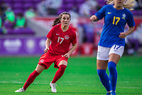 ORLANDO, FL - FEBRUARY 24: Jessie Fleming #17 of the CANWNT waits for the ball during a game between Brazil and Canada at Exploria Stadium on February 24, 2021 in Orlando, Florida.