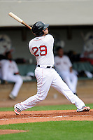 Pawtucket Red Sox first baseman Brandon Snyder #29 during a game versus the Buffalo Bisons at McCoy Stadium in Pawtucket, Rhode Island on June 16, 2013.  (Ken Babbitt/Four Seam Images)