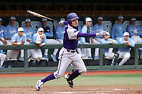 CHAPEL HILL, NC - FEBRUARY 19: Adam Stuart #47 of High Point University hits the ball during a game between High Point and North Carolina at Boshamer Stadium on February 19, 2020 in Chapel Hill, North Carolina.