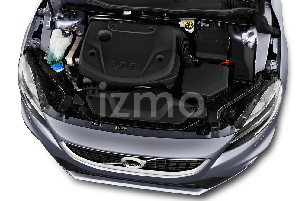 Car stock 2018 Volvo V40 R-Design 5 Door Hatchback engine high angle detail view