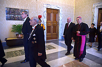 Pope Francis exchanges gifts with the Governor-General of the Commonwealth of Australia Peter Cosgrove and his wife Lady Lynne Cosgrove during an audience at the Apostolic Palace on June 25, 2018 in Vatican City,