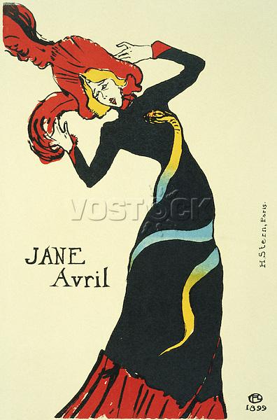 "Dancer by Henri de Toulouse-Lautrec, colour lithograph, 1899, 1864-1901, Russia, Moscow, State A. Pushkin Museum of Fine Arts, 56x36 / Тулуз-Лотрек. Звезда ""Мулен Руж"" Жанна Авриль 1899г. Jane Avril"