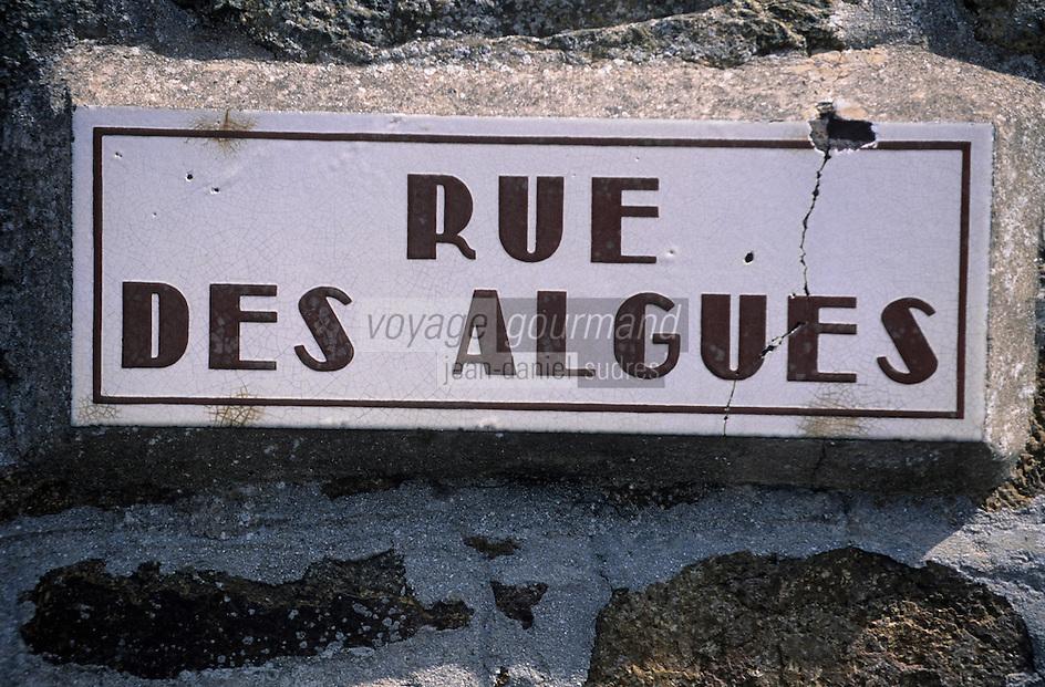 """Europe/France/Bretagne/22/Côtes d'Armor/Pléneuf-Val-André: Détail de la plaque de la """"Rue des Algues"""""""