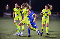 Lyndsey Van Belle (14) of AA Gent pictured during a female soccer game between  Racing Genk Ladies and AA Gent Ladies ,  on the 6 th  matchday of the 2021-2022 season of the Belgian Scooore Womens Super League , friday 8 october 2021  in Genk , Belgium . PHOTO SPORTPIX | JILL DELSAUX