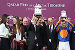 October 02, 2016, Chantilly, FRANCE - Connection of Found, Aidan O'Brian and Ryan Moore at the Winners Presentation of the Qatar Prix de'l Arc de Triomphe (Gr. I) at  Chantilly Race Course  [Copyright (c) Sandra Scherning/Eclipse Sportswire)