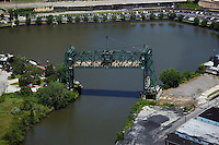 aerial view above draw bridge Cuyahoga river Cleveland Ohio