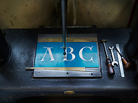 Detail of lettering in the workshop of the Dale Guild Foundry.