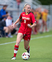 Ashley Spivey (8) of Maryland brings the ball upfield during the game at Klockner Stadium in Charlottesville, VA.  Virginia defeated Maryland, 1-0.