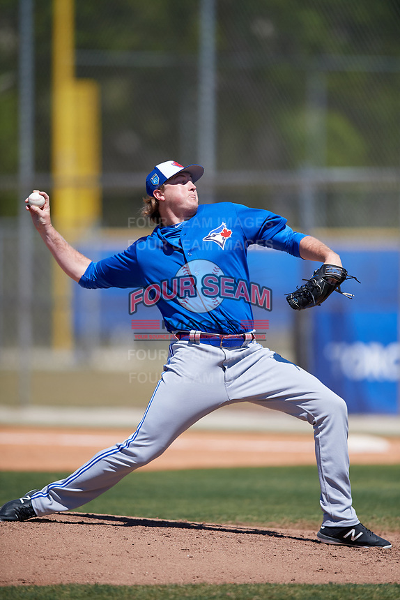Toronto Blue Jays pitcher Zach Jackson (39) during a Minor League Spring Training Intrasquad game on March 14, 2018 at Englebert Complex in Dunedin, Florida.  (Mike Janes/Four Seam Images)