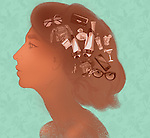 Illustrative image of young woman's head filled with fashionable objects representing desire