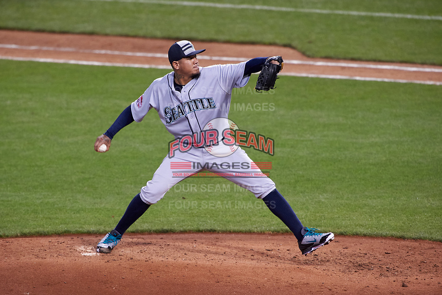 Seattle Mariners pitcher Felix Hernandez during the MLB All-Star Game on July 14, 2015 at Great American Ball Park in Cincinnati, Ohio.  (Mike Janes/Four Seam Images)