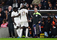Eder of Swansea City is replaced by Bafetibis Gomis during the Capital One Cup match between Hull City and Swansea City played at the Kingston Communications Stadium, Hull