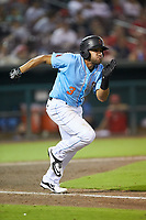 Jose Rojas (3) of the Inland Empire 66ers hustles down the first base line against the] Stockton Ports at San Manuel Stadium on July 6, 2017 in San Bernardino, California. The Ports defeated the 66ers 7-6.  (Brian Westerholt/Four Seam Images)