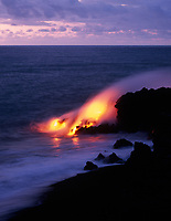 Lava Flowing into Pacific Ocean, Volcanoes National Park, Big Island, Hawaii, USA.