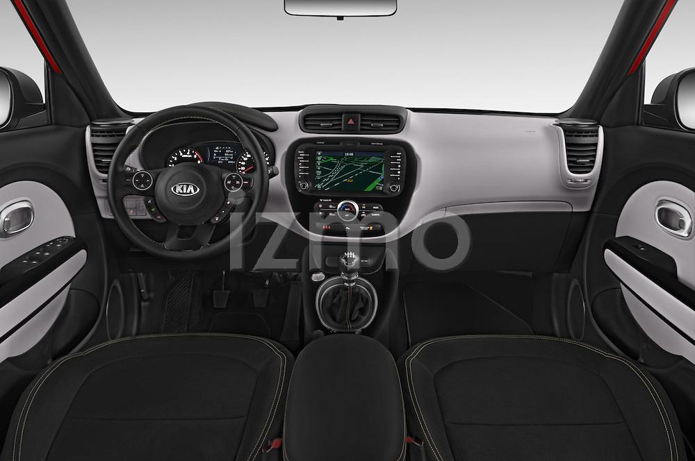 Stock photo of straight dashboard view of 2015 KIA Soul Max 5 Door Hatchback