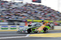 Mar. 10, 2012; Gainesville, FL, USA; NHRA funny car driver Alexis DeJoria during qualifying for the Gatornationals at Auto Plus Raceway at Gainesville. Mandatory Credit: Mark J. Rebilas-