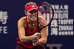 Angelique Kerber of Germany hits a return during the singles Round Robin match of the WTA Elite Trophy Zhuhai 2017 against Ashleigh Barty of Australia at Hengqin Tennis Center on November  02, 2017 in Zhuhai, China.Photo by Yu Chun Christopher Wong / Power Sport Images