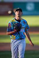 Idaho Falls Chukars starting pitcher Anthony Veneziano (49) walks off the field between innings of a Pioneer League game against the Missoula Osprey at Melaleuca Field on August 20, 2019 in Idaho Falls, Idaho. Idaho Falls defeated Missoula 6-3. (Zachary Lucy/Four Seam Images)