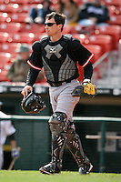 May 9, 2009:  Catcher Robby Hammock of the Norfolk Tides, International League Class-AAA affiliate of the Baltimore Orioles, in the field during a game at Coca-Cola Field in Buffalo, FL.  Photo by:  Mike Janes/Four Seam Images