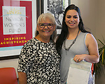Morayma Rubio, right, and President & Ceo Isabelle Rodriguez Wilson during the Nevada Women's Fund Scholarship distribution, June 20, 2019.