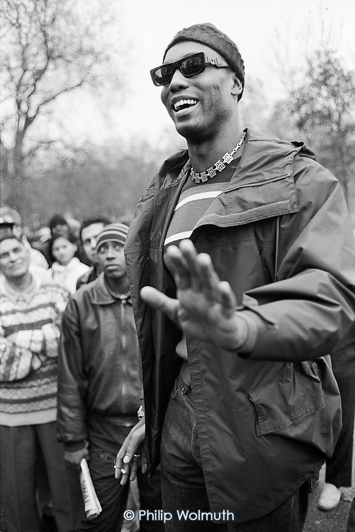 Ishmahil Blagrove.  Speakers' Corner, Hyde Park, London.