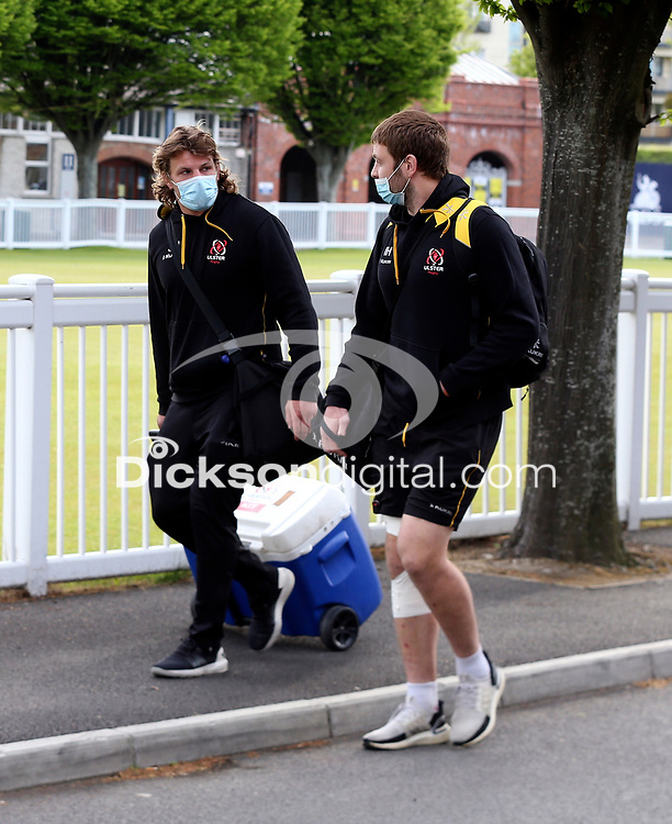 Friday 14th May 2021; Jordi Murphy and Iain Henderson arriving for the Guinness PRO14 Rainbow Cup Round 3 clash between Leinster and Ulster at The RDS Arena, Ballsbridge, Dublin, Ireland. Photo by John Dickson/Dicksondigital