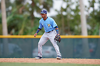 Tampa Bay Rays designated hitter Wander Franco (4) during an Instructional League game against the Pittsburgh Pirates on October 3, 2017 at Pirate City in Bradenton, Florida.  (Mike Janes/Four Seam Images)