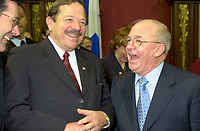 FILE PHOTO March 8 2001 Quebec, Canada<br /> <br /> Ministers jacques Brassard (L) and  Guy Chevrette (L)  chat before the presentation of Bernard Landry  new cabinet, March 8 2001, at the National Assembly, in Quebec City.<br /> <br /> <br /> <br /> <br /> Mandatory Credit: Photo by Pierre Roussel- Images Distribution. (©) Copyright 2001 by Pierre Roussel <br /> <br /> NOTE : <br />  Nikon D-1 jpeg opened with Qimage icc profile, saved in Adobe 1998 RGB<br /> .Uncompressed  Original  size  file availble on request.