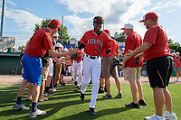Batavia Muckdogs Dalvy Rosario (17) during introductions before a NY-Penn League game against the Williamsport Crosscutters on August 25, 2019 at Dwyer Stadium in Batavia, New York.  Williamsport defeated Batavia 10-3.  (Mike Janes/Four Seam Images)