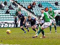 20th February 2021; Easter Road, Edinburgh, Scotland; Scottish Premiership Football, Hibernian versus Hamilton Academical; Martin Boyle of Hibernian sees his penalty shot saved