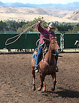 Joel Kruger competes in the team roping event at the Minden Ranch Rodeo in Gardnerville, Nev., on Sunday, July 22, 2012..Photo by Cathleen Allison