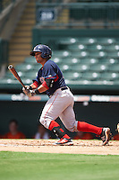 GCL Red Sox catcher Alberto Schmidt (41) at bat during a game against the GCL Orioles on August 16, 2016 at the Ed Smith Stadium in Sarasota, Florida.  GCL Red Sox defeated GCL Orioles 2-0.  (Mike Janes/Four Seam Images)