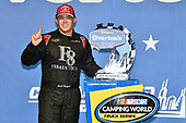 #16: Brett Moffitt, Hattori Racing Enterprises, Toyota Tundra celebrates his win in Victory Lane