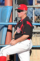 Batavia Muckdogs pitching coach Ace Adams during the first game of a double header vs. the Connecticut Tigers at Dwyer Stadium in Batavia, New York July 10, 2010.   Batavia defeated Connecticut 5-3.  Photo By Mike Janes/Four Seam Images