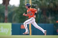Baltimore Orioles Mason McCoy (58) running the bases during an Instructional League game against the Pittsburgh Pirates on September 27, 2017 at Ed Smith Stadium in Sarasota, Florida.  (Mike Janes/Four Seam Images)