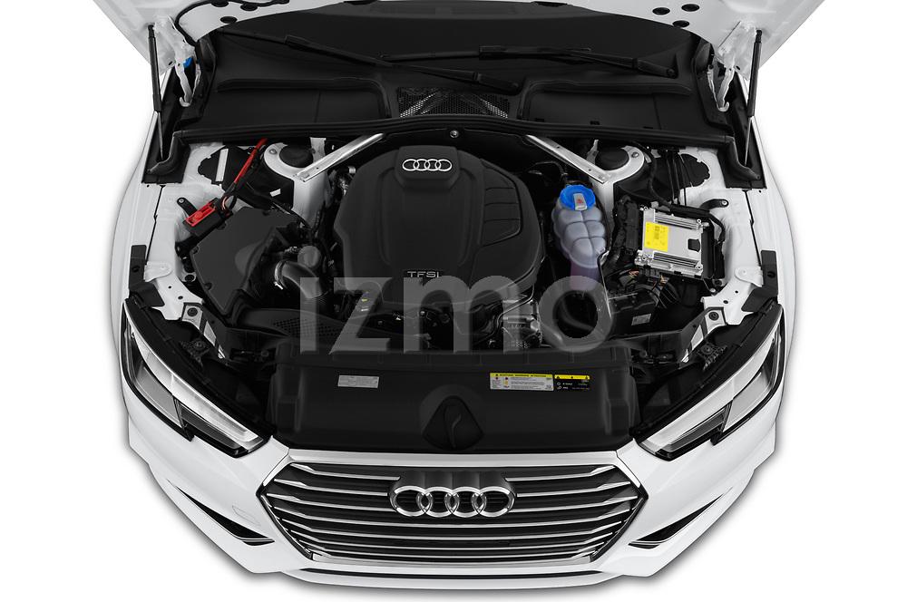 High angle detail view of 2019 Audi A4 Premium 4 Door Sedan engine