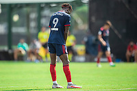 LAKE BUENA VISTA, FL - JULY 14: C.J. Sapong #9 of the Chicago Fire looking down during a game between Seattle Sounders FC and Chicago Fire at Wide World of Sports on July 14, 2020 in Lake Buena Vista, Florida.