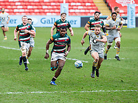 20th February 2021; Welford Road Stadium, Leicester, Midlands, England; Premiership Rugby, Leicester Tigers versus Wasps; Kini Murimurivalu of Leicester Tigers and Tom Cruse of Wasps chase down a loose ball kicked forward for position